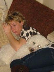 sleeping woman dog