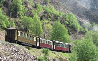 train in mountains